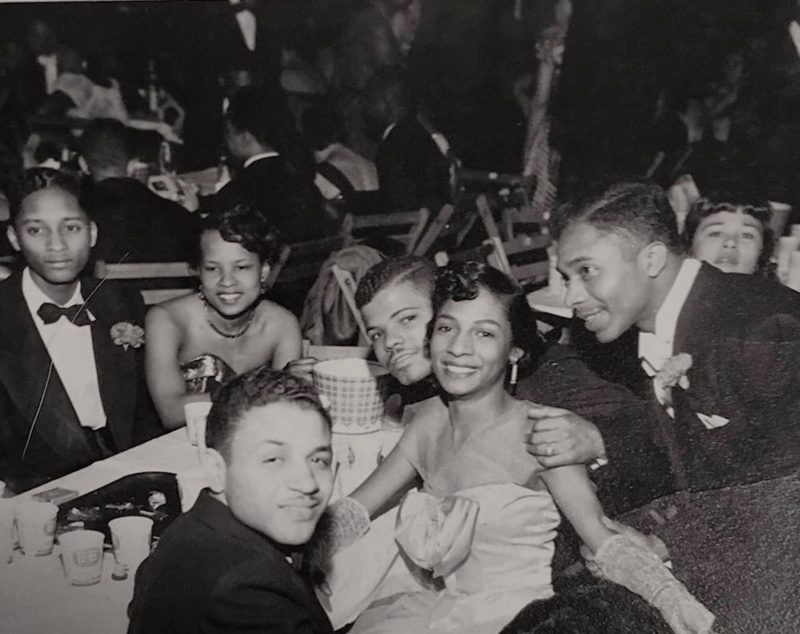 Ave Marie Odell (DCPS educator) gathering with friends at Lincoln Colonnade Ballroom. Photo  Credit: Black Broadway on U: A Transmedia Project Archives